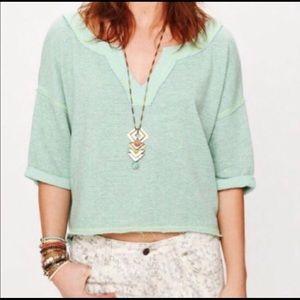 Free People green speckled loose fit sweatshirt